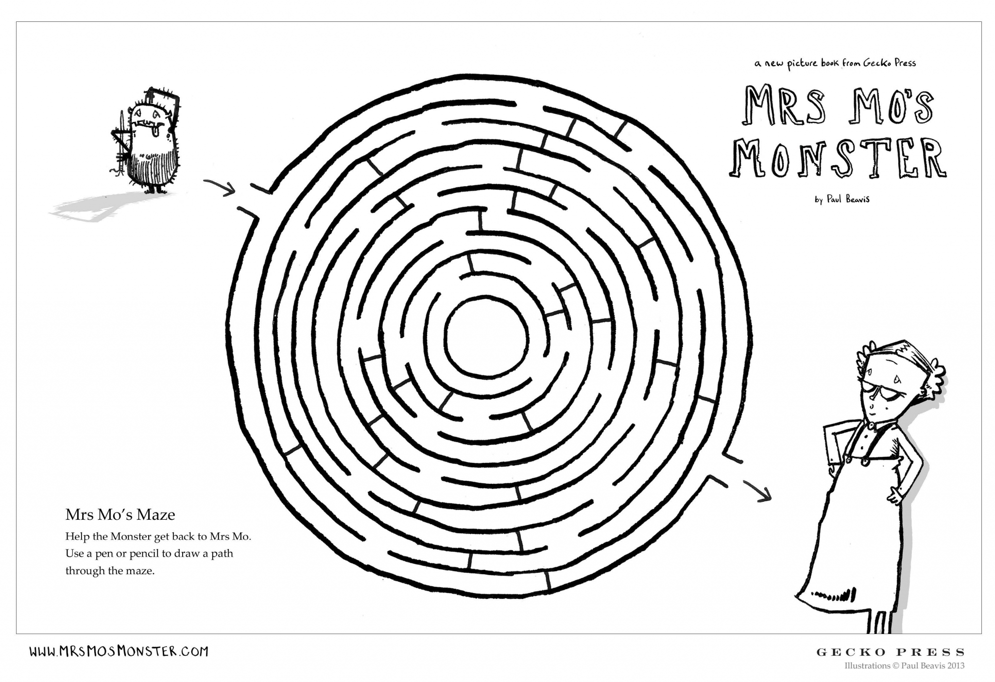 Gecko Press activity sheet for Mrs Mos Monster, make it thorugh the maze