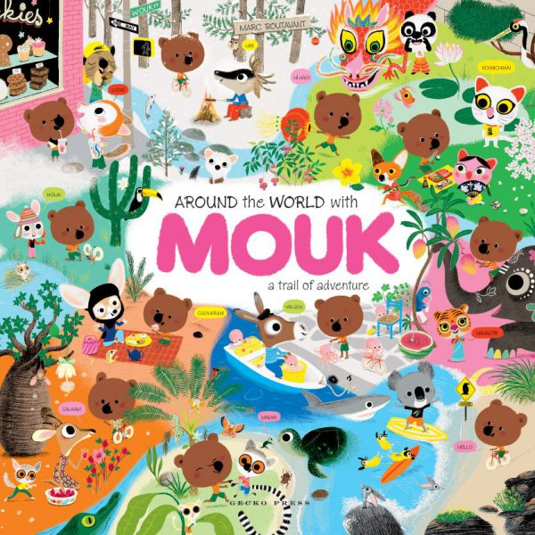 Around the world with Mouk book, Marc Boutavant, picture book for kids, interactive atlas