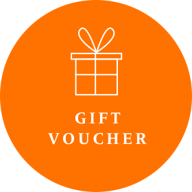 Orange voucher image for Gecko Press, orange circle with white drawing of a wrapped present