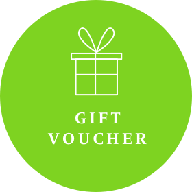 Green voucher image for Gecko Press, green circle with a white picture of a wrapped present