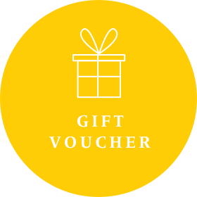 Yellow gift voucher image for Gecko Press, yellow circle with white drawing of a wrapped present