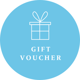 Blue voucher image for Gecko Press, blue circle with white drawing of a wrapped present