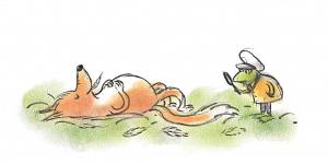 Gecko Press website banner from A Complicated Case, detective gordon inspects a sleeping fox with his magnifying glass