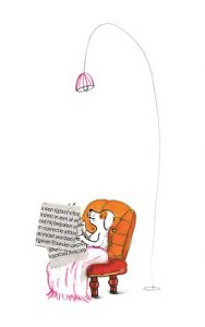 Gecko Press spot art from What Dog Knows, dog reads the newspaper in an orange armchair with pink light