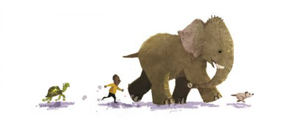 Gecko Press website banner from Have You Seen Elephant by David Barrow, turtle, boy, elephant and dog walk in a line