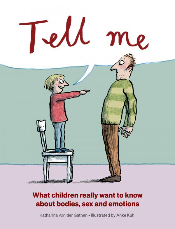 Cover for Tell Me of a young child standing on a chair, pointing at an adult male and cheerfully saying 'tell me'