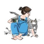 Giselle Clarkson with cat illustration