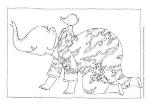 My Mama colouring sheet piggy back ride