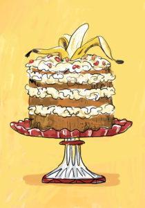 Egg and Spoon spot art banana cake (c) Giselle Clarkson