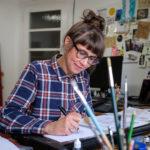 Anke Kuhl at her desk